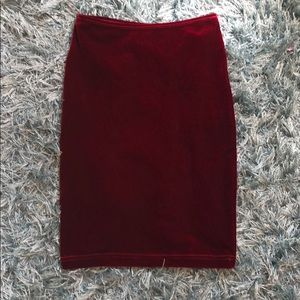 Maroon velvet pencil skirt